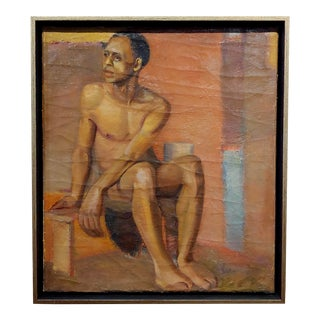 Erle Loran Portrait of a Young African American Man Oil Painting For Sale