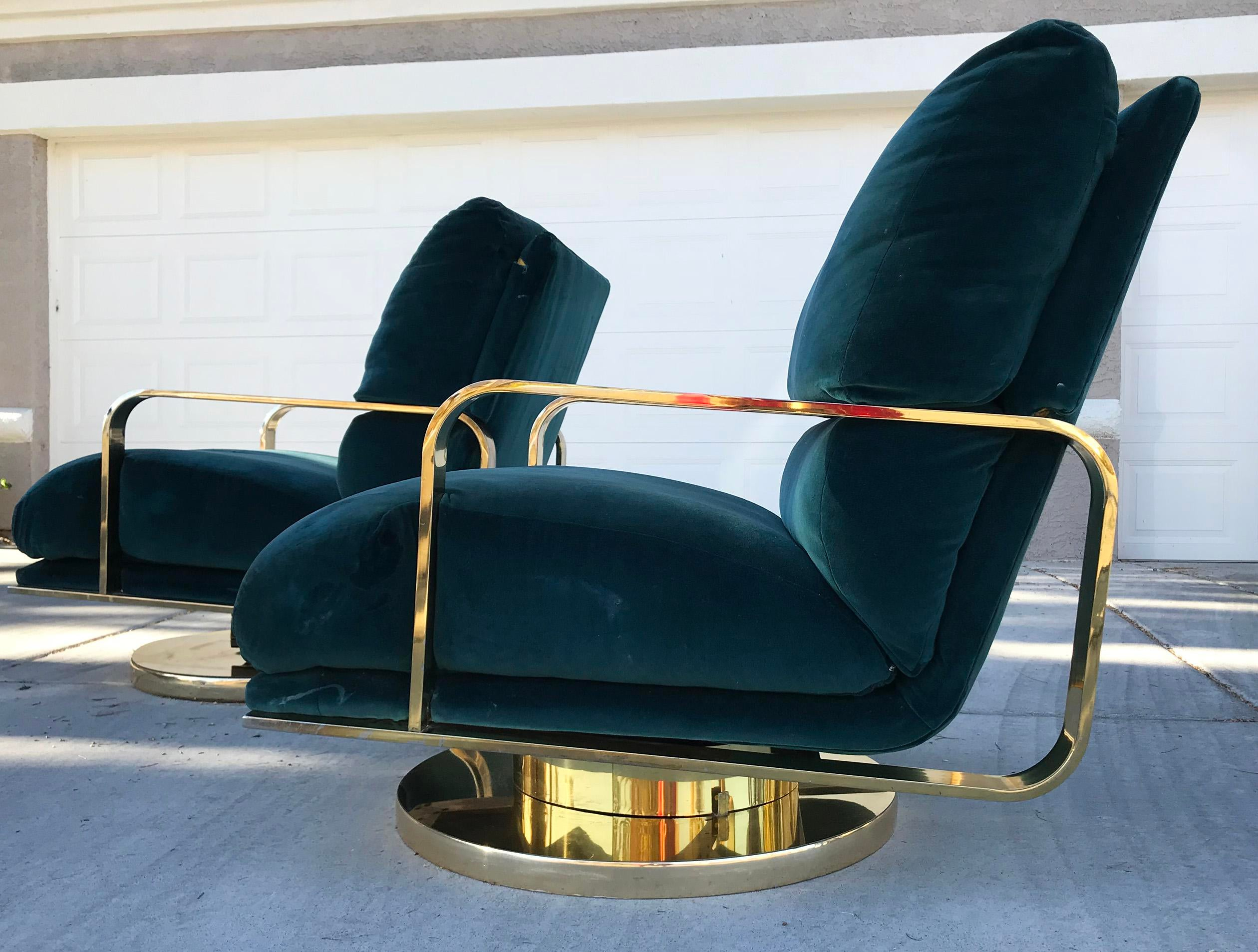 Milo Baughman Brass Base Swivel Lounge Chairs   A Pair   Image 3 Of 7