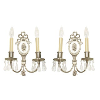 Set of 4 Hollywood Sconces in Brushed Nickel with Rock Crystals For Sale