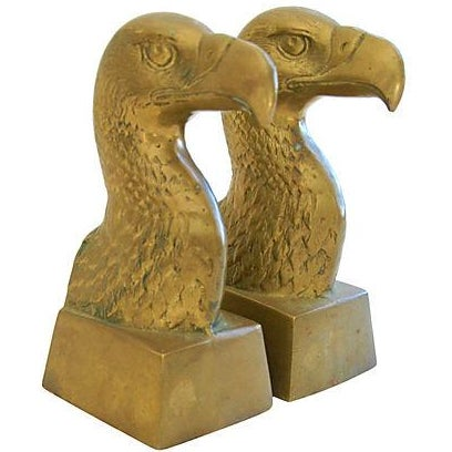 Patriotic 1960s Brass Bald Eagle Bookends - Image 2 of 6