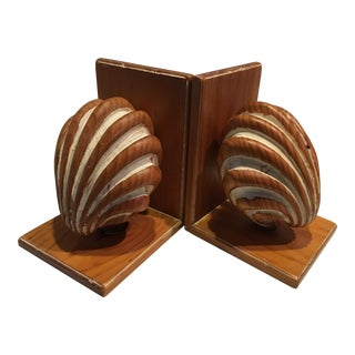 Vintage Guild Master Carved Wood Shell Bookends - a Pair For Sale