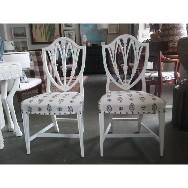 Textile Vintage Hepplewhite Side Chairs Brunschwig Paisley Fabric - a Pair (6 Available) For Sale - Image 7 of 7