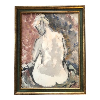 Vintage Mid Century Modern Original Female Nude Charcoal & Watercolor Painting Signed For Sale
