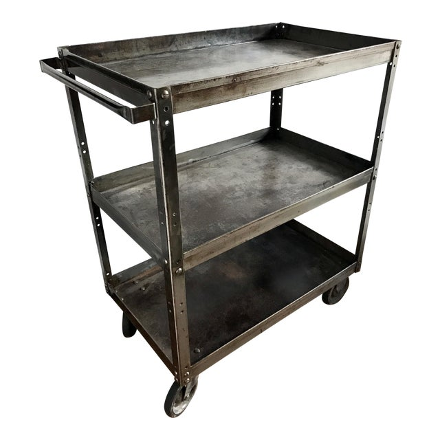 Antique Industrial Metal Trolley Bar Cart For Sale
