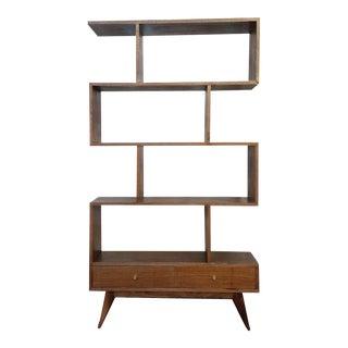 Mid-Century Modern Style Handmade Walnut Bookshelf