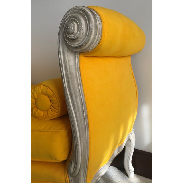 1900s Canary Yellow French Settee For Sale - Image 6 of 13