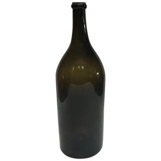 Large Green Blown Glass Bottle From Mid-19th Century France For Sale