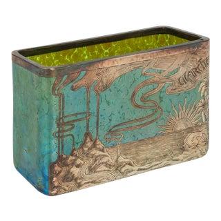Loetz Papillon Silver-Overlay Blue Cigarettes Vase Circa 1900 For Sale