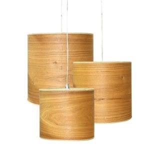 Mid-Century Modern Wood Veneer Ceiling Lamps - Set of 3 For Sale