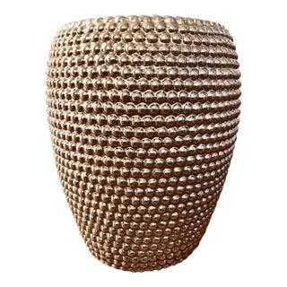 Modern Pewter Glazed Ceramic Garden Stool For Sale