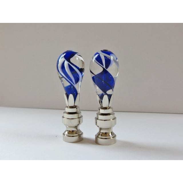 Cobalt Swirl Blown Glass Finials - a Pair - Image 3 of 4