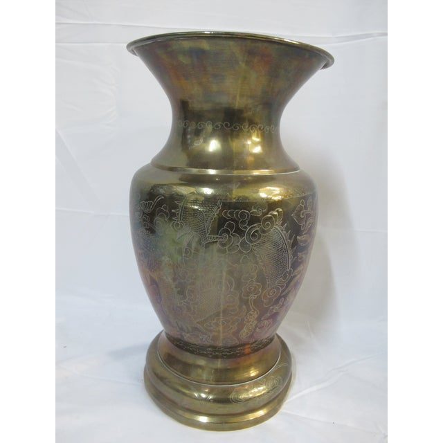 Gold Chinese Brass Etched Dragon & Phoenix Urn Vase Pot For Sale - Image 8 of 9