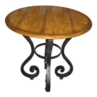 Woodbridge Solid Wood and Wrought Iron Accent Table