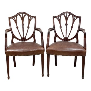 Hepplewhite Style Armchairs, England Circa 1860 - a Pair For Sale