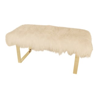 "Warm White Curly BeBe 48"" Brass Bench For Sale"