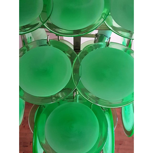 1970s Mid-Century Modern Green Disc Murano Chandelier by Vistosi For Sale - Image 5 of 9