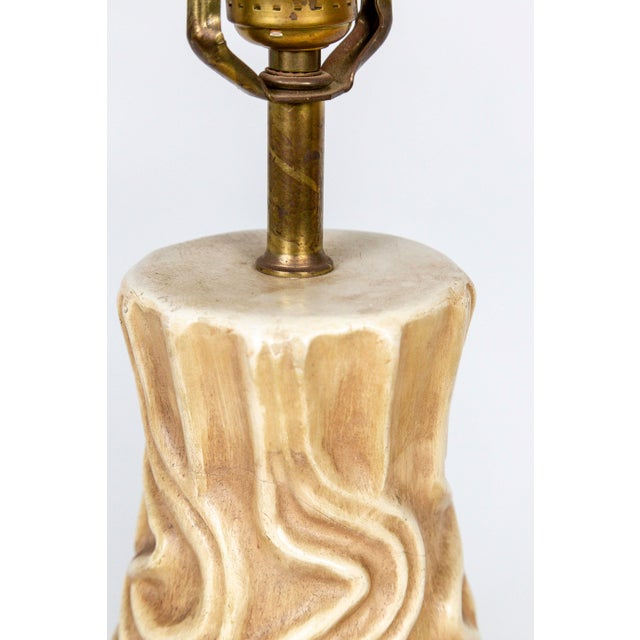 Tall Mid-Century High Relief Carved Tan Pottery Lamps - a Pair For Sale - Image 9 of 11