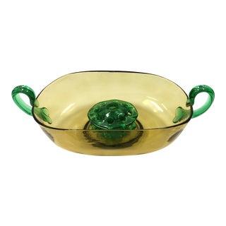 Vintage Steuben Topaz & Pamona Green Glass Bowl For Sale