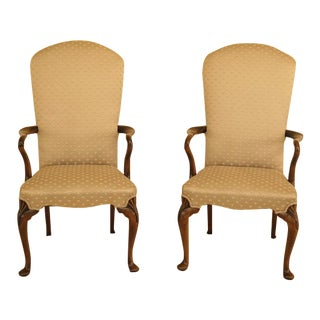 Queen Anne Walnut Framed Library Chairs -a Pair For Sale