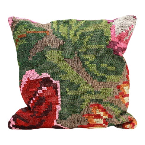 Rose Kilim Throw Pillow - 18×18 For Sale