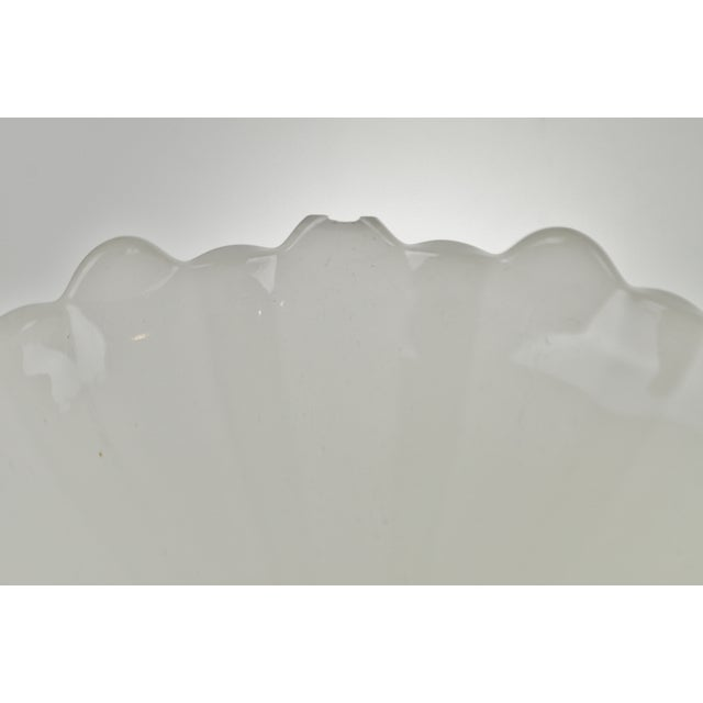 Vintage Opalescent White Glass Pendant Light Shades - a Pair For Sale - Image 11 of 13