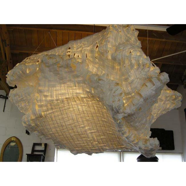 Gigantic Freeform Handwoven Paper Ceiling Light - Image 3 of 7