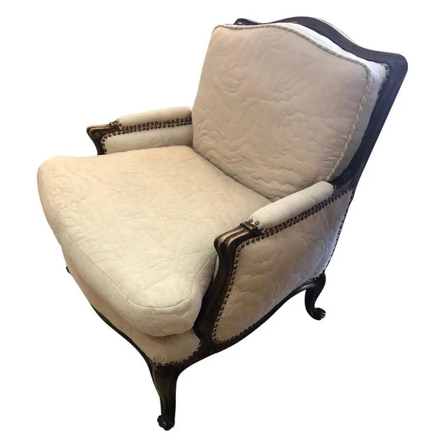 Carved Walnut French Style Club Chair With Quilted Upholstery For Sale - Image 13 of 13