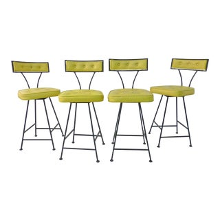1950s Vintage Thinline Counter Height Bar Stools - Set of 4