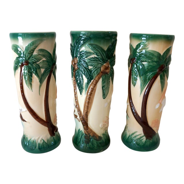Vintage Harveys Hula Girl Palm Tree Tiki Mugs - 3 - Image 1 of 5