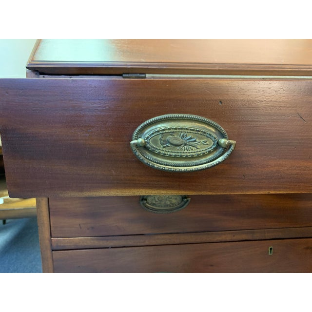 19th Century Chippendale English Hepplewhite Style Drop Top Desk For Sale - Image 9 of 12