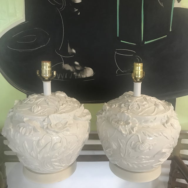 Metal 1960s Italian Ceramic Hamd Made Floral Lamps Blanc De Chine - a Pair For Sale - Image 7 of 7
