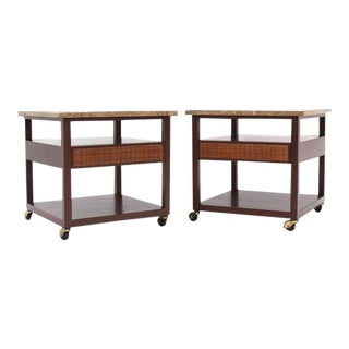 Vintage Mid Century Harvey Probber Marble-Top Single Drawer End Tables- a Pair For Sale