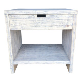 1-Drawer Whitewashed Nightstand For Sale