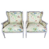 Image of French Painted Brunschwig & Fils Upholstered Wingback Armchairs For Sale