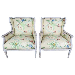 French Painted Brunschwig & Fils Upholstered Wingback Armchairs For Sale