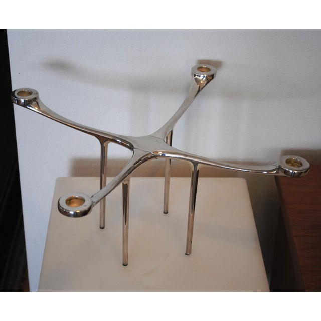 Danish Modern Style Chrome Candelabra Candle Holder by Charles Wilson For Sale - Image 6 of 7