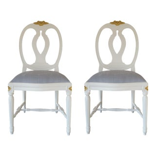Carved Rose Gustavian Chairs With Gold - Pair For Sale
