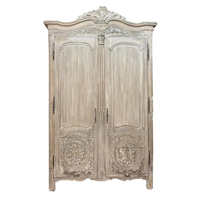 18th Century Country French Louis XVI Period Whitewashed Armoire For Sale