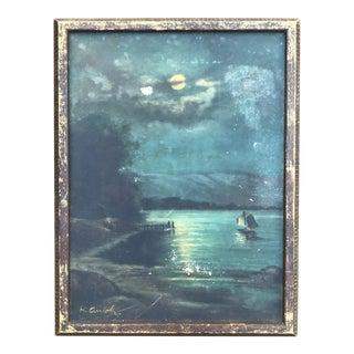 Vintage Original Oil Seascape Sailboat Painting Signed H. Arriola
