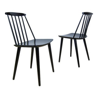 1968 Folke Palsson Black J77 Chairs for Fdb Mobler - a Pair