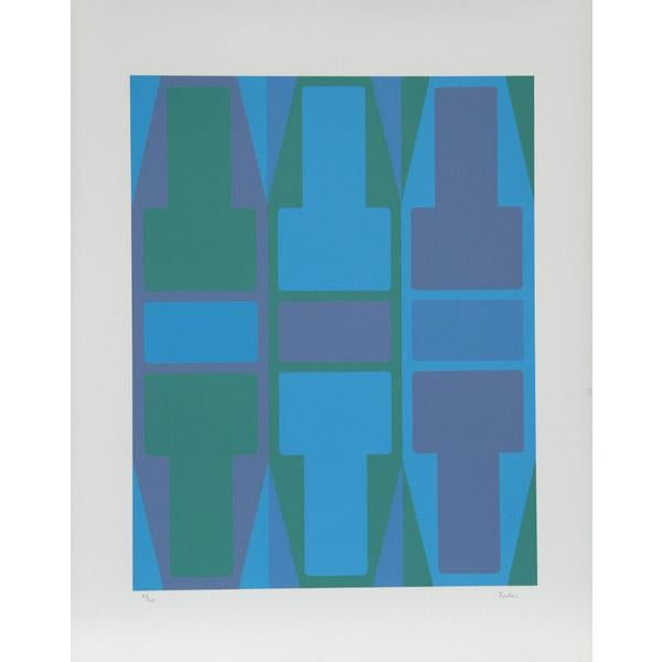 Artist: Arthur Boden, American Title: T Series (Blue) Year: circa 1970 Medium: Serigraph, signed and numbered in pencil...
