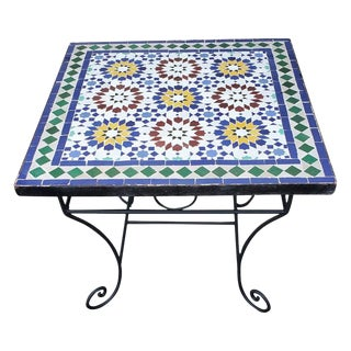 """Moroccan 24"""" Square Beldia Pattern Mosaic Table For Sale"""