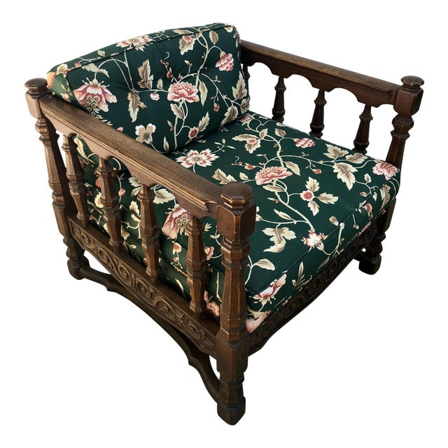 Mid-Century Floral Upholstered Wooden Cube Chair For Sale