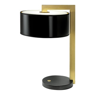 Deco Black Bronze English Brass Table Lamp & Shade For Sale