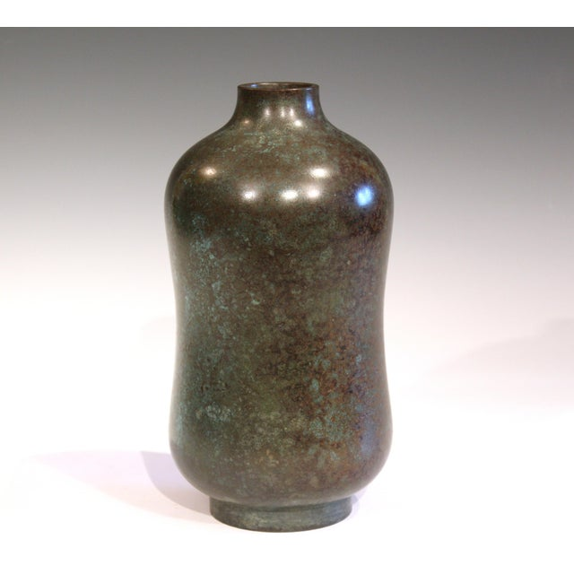 Japanese Vintage Bronze Old Japanese Patinated Verdigris Vase For Sale - Image 3 of 11