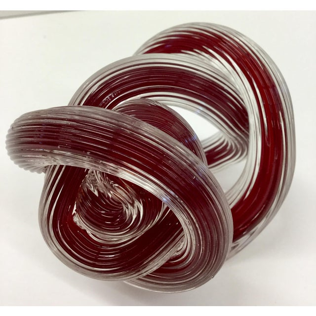 Zanetti Murano Style Ruby Red Glass Knot For Sale In Boston - Image 6 of 8