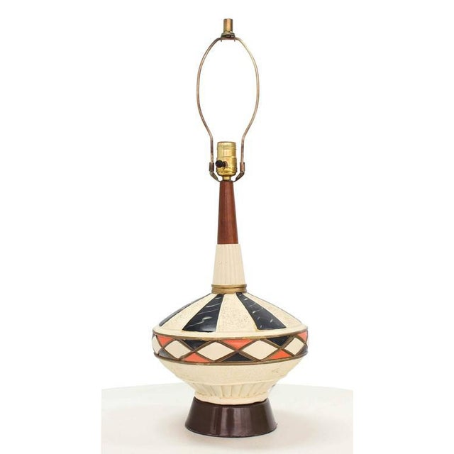 Pair of Walnut and Art Pottery Table Lamps For Sale - Image 4 of 7