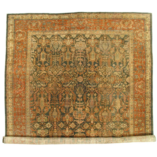 """Late 19th Century Antique Original Persian Sultanabad Hand-Knotted Rug - 10′7″ × 16′6"""" For Sale"""