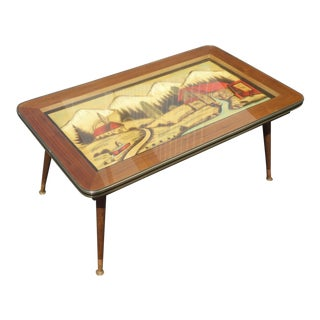 Vintage Mid-Century Modern Hand Carved & Painted Coffee Table For Sale
