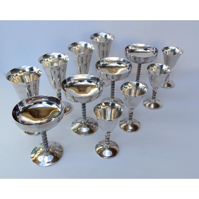 "Art Deco Vintage Silver Plate Spanish ""Valerio"" Drinks Server Ware- Set of 12 For Sale - Image 3 of 11"